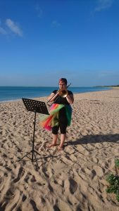 Kathleen trombone on beach