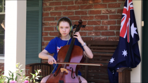 Cellist Aussie flag