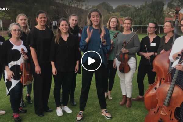 Jessica Gethin, with conducting students